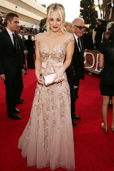Kaley Cuoco arrives to the 70th Annual Golden Globe Awards held at the Beverly Hilton Hotel on January 13, 2013