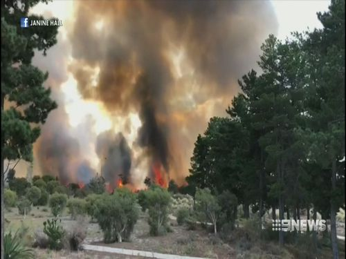 "Some witnesses described flames from the fire reaching ""two-storeys high"". (9NEWS)"