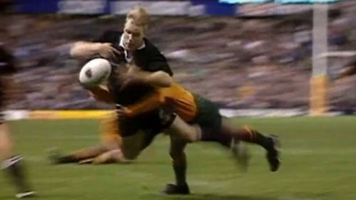 Jeff Wilson fumbles the ball at the death of the 1994 Bledisloe as he is tackled by George Gregan.