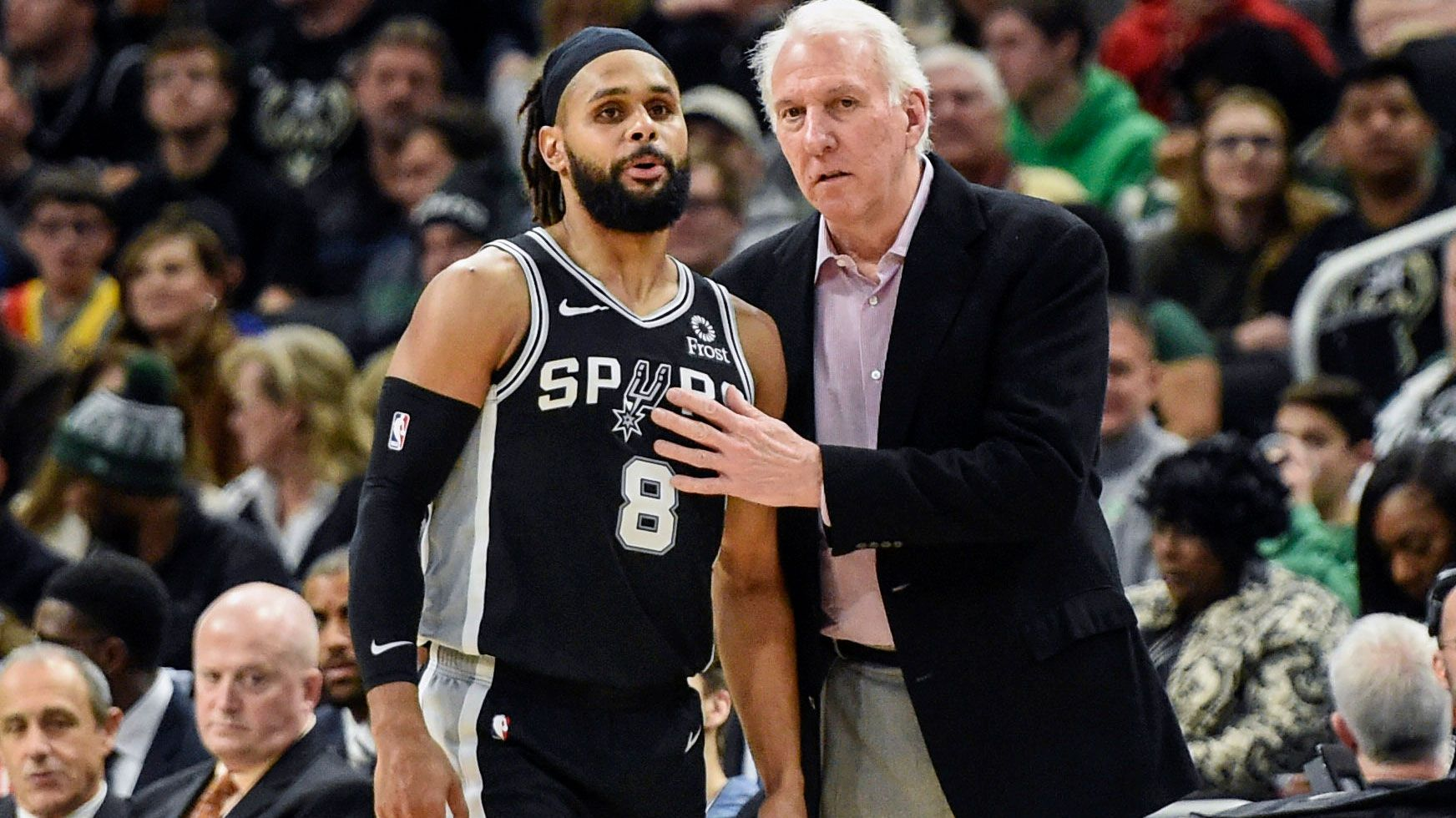 Patty Mills with Gregg Popovich