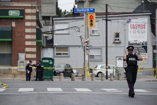 Streets in Toronto remain in lockdown after the shooting. Picture: AAP