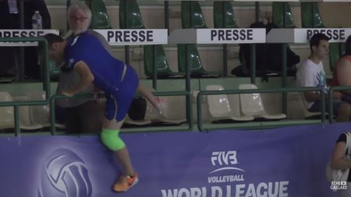 Gaillard leaps onto court. (YouTube)