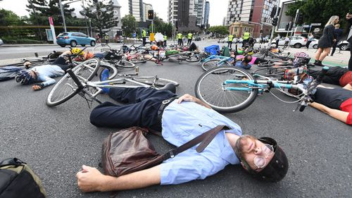 The cyclists are lobbying for improved bike lanes. (AAP)