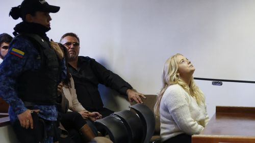 Cassie Sainsbury sat in a Bogota court this morning as her plea deal was rejected by a Colombian judge. (AAP)