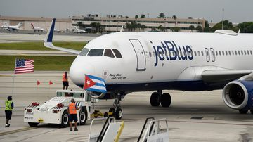 JetBlue Flight 386 departs for Cuba from Fort Lauderdale National Airport in Fort Lauderdale, Florida. (AFP)