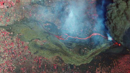 Satellite photo from Planet Labs Inc. shows lava and ash from a volcano on the Canary island of La Palma, Spain.