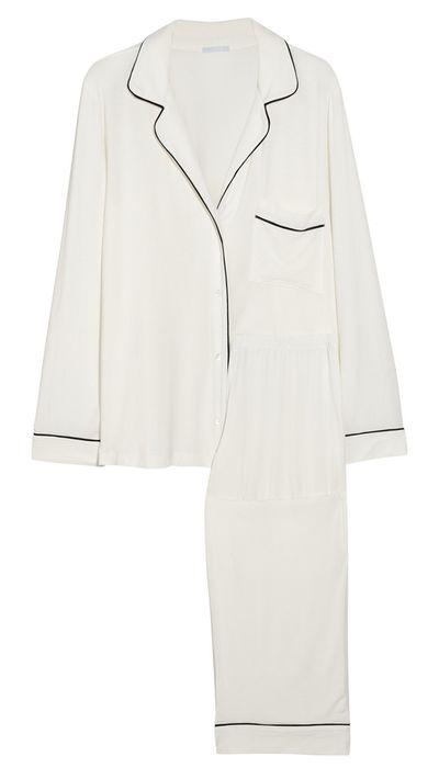 "<p><a href=""http://www.net-a-porter.com/au/en/product/474752"">Gisele Stretch-Jersey Pajama Set, $148.64, Eberjey</a></p>"