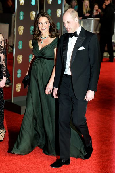 Prince William, Duke of Cambridge and Kate Middleton, Duchess of Cambridge, in Jenny Packham, at the British Academy Film Awards (BAFTAs)
