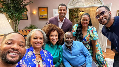 A photo from the set of the Fresh Prince reunion.