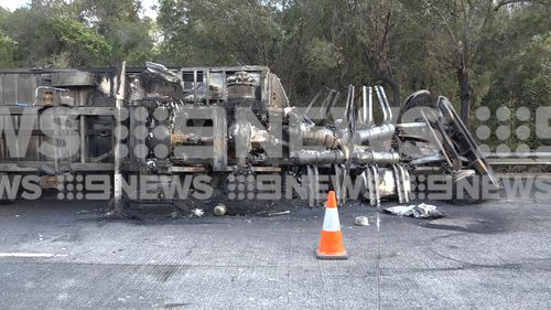 The charred remains of the truck will be removed later today.