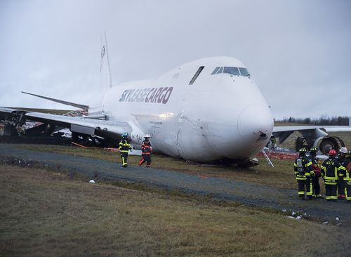 A cargo plane has skidded off a runway in Canada.