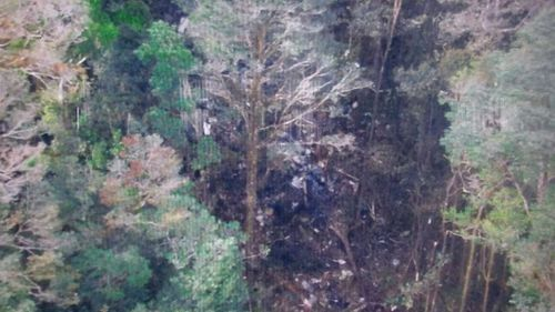An aerial shot of the crash site in Papua.