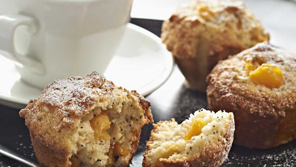 Peach and poppy seed muffin