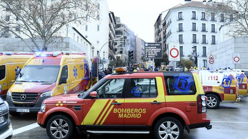 Emergency services at the scene after six floors have collapsed on a building after a large explosion on Toledo Street in central Madrid on January 20, 2021 in Madrid, Spain