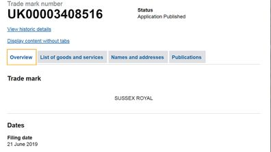 Sussex Royal trademark granted - screenshot Intellectual Property Office