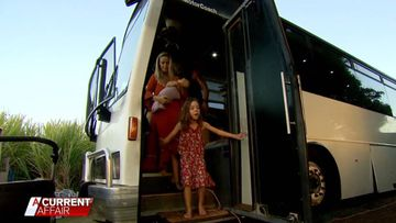 Family of six forced to live on old bus after being evicted