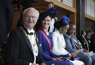 King Carl XVI Gustaf, left, and Crown Princess Victoria attend the enthronement ceremony of Japan's Emperor Naruhito in Tokyo, 2019.