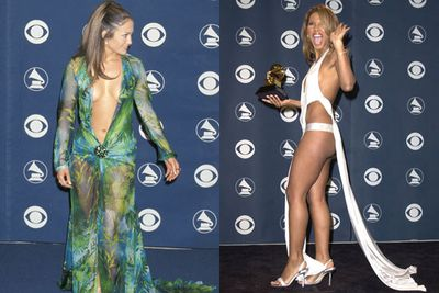 With the Grammy Awards banning 'bare flesh' and excess cleavage at this year's ceremony, we thought it was only fit to revisit some of the most racy and downright dodgy excuses for adequate clothing in the event's past. You'll be surprised at just how little material is needed to make a frock fit for music's night of nights!<br/><br/>Hold your breath as you see these wardrobe malfunction-ready dresses in action!