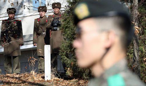 North Korean guards keep a close eye on the DMZ. (AP).