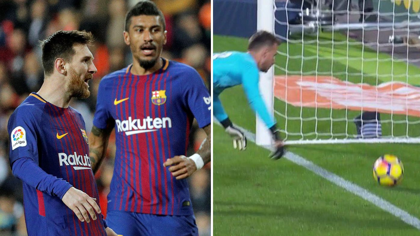 Football: Barcelona star Lionel Messi robbed of goal after referee howler in clash against Valencia