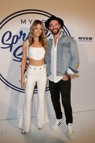 Jennifer Hawkins in House of CB with Kris Smith in Industrie at the Myer Spring Social 2017