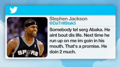"San Antonio Spurs NBA player Stephen Jackson was punished for issuing a ""hostile tweet"" directed at OKC's Serge Ibaka."