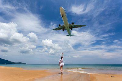 Planes over Mai Khao Beach in Phuket, Thailand