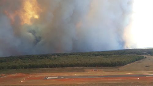 A bushfire on the Tingha Plateau as seen from Inverell Airport.