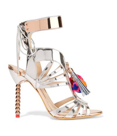"The shoe:<a href=""https://www.net-a-porter.com/au/en/product/708920/sophia_webster/yasmina-pom-pom-embellished-mirrored-leather-sandals"" target=""_blank"">Sophia Webster</a>metallic pom pom heels, $1706"