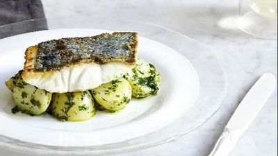 "<a href=""http://kitchen.nine.com.au/2016/05/16/20/14/crispyskinned-fish-with-salsa-verde-potatoes"" target=""_top"">Crispy-skinned fish with salsa verde potatoes<br /> </a>"