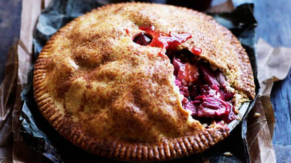 Rhubarb and apple pie with warm cinnamon custard