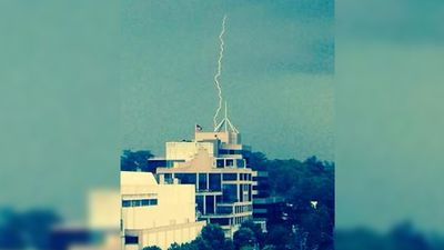 Lightning strikes a build in Parramatta as the Sydney storm rolls through. (@parracity)