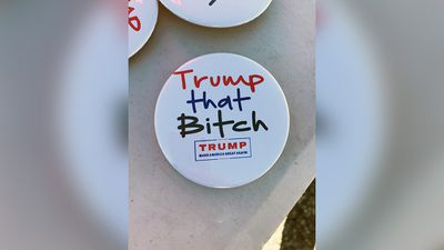 <p>Some unofficial Trump paraphernalia is crudely sexist. </p> <p>(9NEWS/Tom Steinfort)</p>
