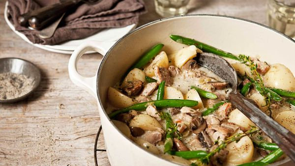 Chicken, potato & mushroom fricassee