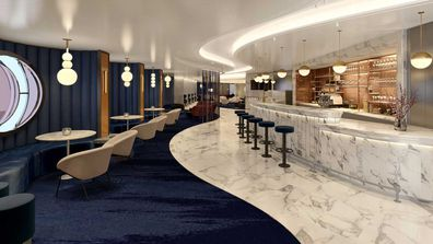 Sip, the new Champagne and caviar lounge onboard Virgin Voyages' Scarlet Lady