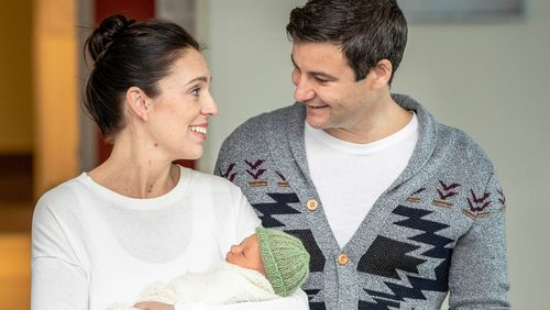 The couple and their newborn daughter Neve Gayford. Picture: AAP