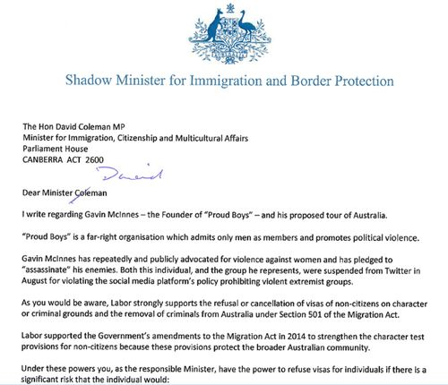 Copy of letter sent by Labor immigration spokesman Shayne Neumann to government requesting a visa for Gavin McInnes be declined.