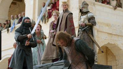 Sean Bean, and Sophie Turner, Lena Headey and Jack Gleeson in a scene from the first season of 'Game of Thrones.'