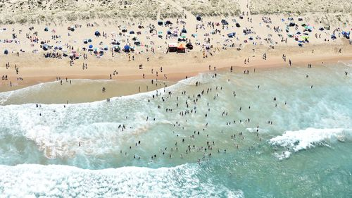 An aerial view of Green Hills Beach near Cronulla yesterday.