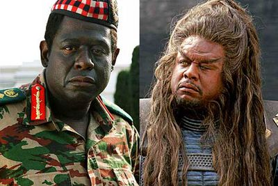 "<B>Oscar winner:</B> <I>The Last King of Scotland</I> (2006). He plays President Amin of Uganda, managing to flip between ""delightful"" and ""full of madness""s with an ease that won him the much-deserved award.<br/><br/><B>Stinker:</B> <I>Battlefield Earth</I> (2000). Most people are already aware of just how terrible everything about this movie was, this undoubtedly includes Whitaker — who played one of the more ridiculous alien slave-masters."
