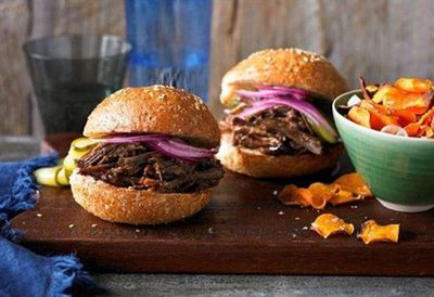 Texas chopped brisket burger with sweet potato chips