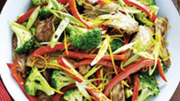 Beef, broccoli and orange stir-fry
