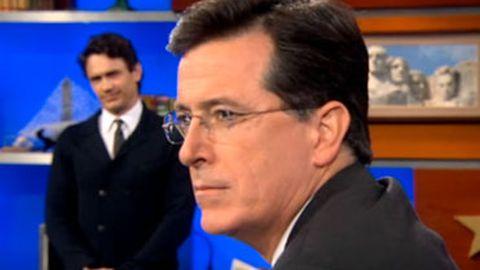 "Stephen Colbert meets James Franco's evil twin ""Frank Jameso"""