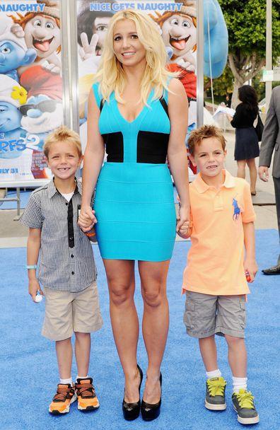 Britney Spears, transformation, photos, Britney Spears, sons Jayden, Preston, Smurfs 2, premiere, 2013