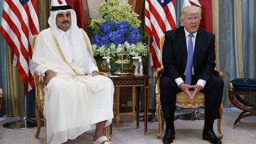 The Emir or Qatar with Donald Trump last month. (AAP)