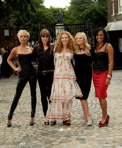 <p>The Spice Girls- Victoria, Mel C, Geri, Emma and Mel pictured at a photocall at the Royal Observatory to celebrate their 10-Year Reunion Tour in 2007.</p>