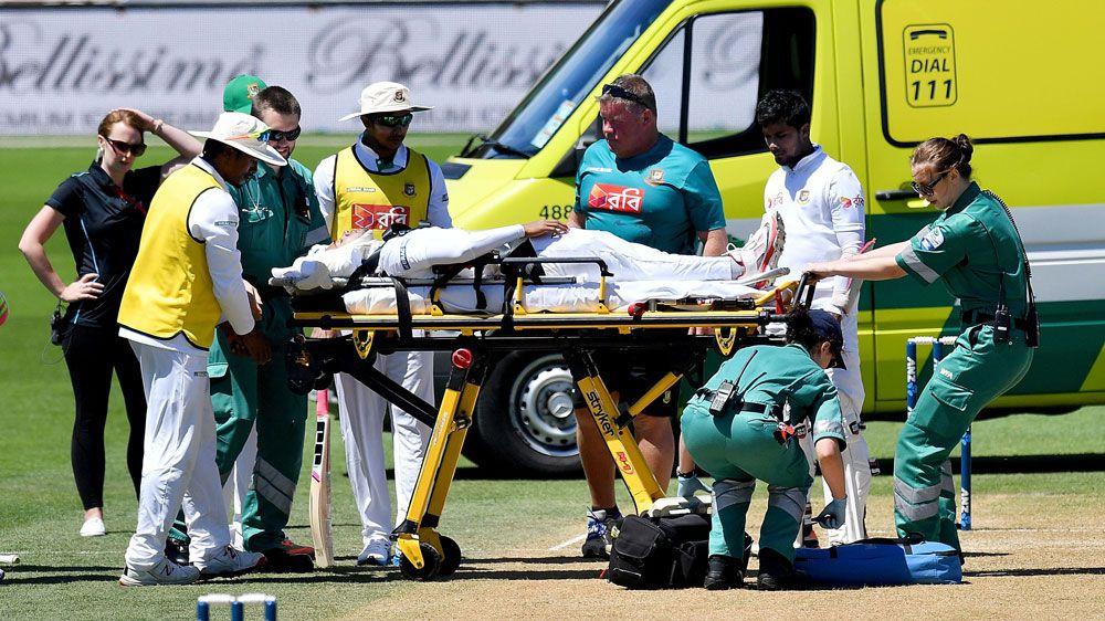 Bangladesh skipper OK after bouncer scare