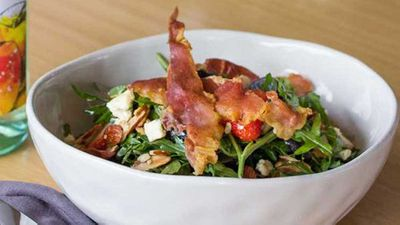 """Recipe: <a href=""""http://kitchen.nine.com.au/2017/08/04/13/18/rocket-strawberry-prosciutto-and-blue-cheese-salad-with-fig-dressing"""" target=""""_top"""">Rocket, strawberry, prosciutto salad</a>"""