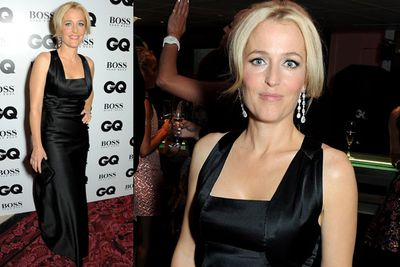 <i>The X Files</i> star Gillian Anderson played it safe in a simple black silk dress.