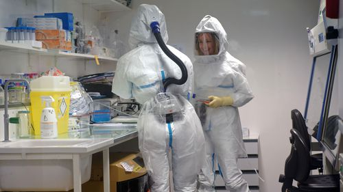Inside a high-level P3 biosafety security laboratory where coronavirus vaccines are being developed.